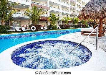 resort., jacuzzi, antilles, piscine, natation