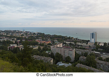 """Resort settlement Lasarevskoye in the evening, the view from observation deck of """"Eagle's Nest"""""""