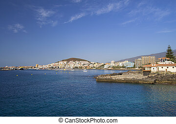 Resort town of Los Cristianos in Tenerife, Canary Islands, Spain