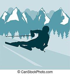 resorts., repos, style de vie, sain, soleil, neige, montagne