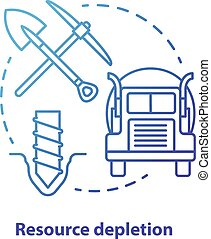 Resource depletion concept icon. Natural minerals exhaustion idea thin line illustration in blue. Nonrenewable resources, extraction and consumption. Vector isolated outline drawing