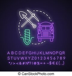 Resource depletion neon light concept icon. Natural minerals exhaustion idea. Nonrenewable resources and consumption. Glowing sign with alphabet, numbers and symbols. Vector isolated illustration