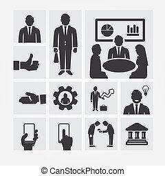 resources., 관리, 사업, 바람 빠진 타이어, concept., 아이콘, 삽화, 벡터, 디자인, ...