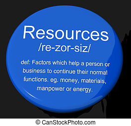 Resources Definition Button Shows Materials Assets And ...