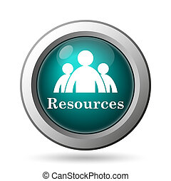 Resources icon. Internet button on white background.