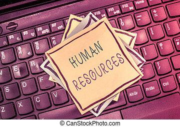 resources., mensen, tekst, het tonen, op, arbeidskrachten, menselijk, foto, conceptueel, organisatie, meldingsbord, maken