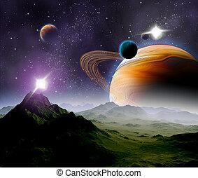resources., messze, elvont, travel., space., jövő, mély, háttér, új, technologies