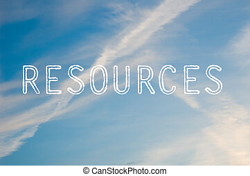 The word resources written with cloud letters against a blue sky.