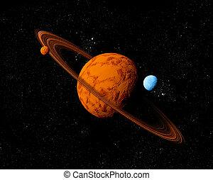 resources., ver, abstract, travel., diep, planeet, toekomst, space., achtergrond, nieuw, technologieën, ring, moons.
