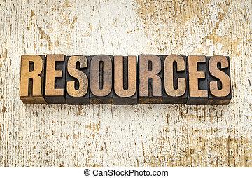 resources word in wood type - resources word in vintage...