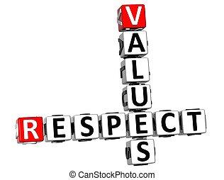 respect, 3d, valeurs, mots croisés
