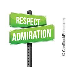 respect admiration road sign illustration design over a white background