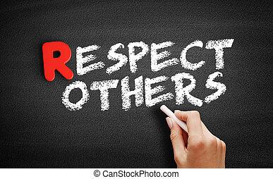 respect, autres, texte, tableau noir