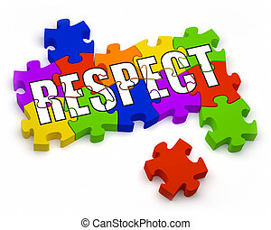 Respect - 3D jigsaw pieces with text. Part of a series.