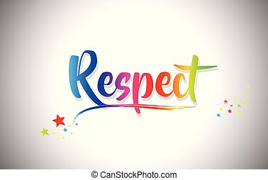 Respect Handwritten Word Text with Rainbow Colors and Vibrant Swoosh.