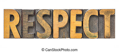 respect - isolated word in wood type