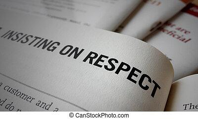respect, livre, mot, insister