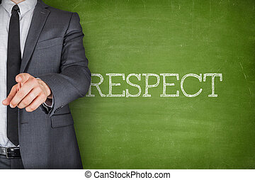 Respect on blackboard with businessman