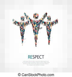 Isometric set of styles, respect , web infographics concept illustration of a crowded square, flat 3d. Crowd point group forming a predetermined shape. Creative people. - Vector Illustration. Stock vector.3D illustration.