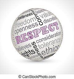 Respect theme sphere with keywords full vector