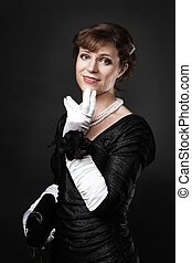 Respectable woman in white gloves