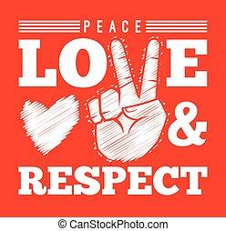 respeito, símbolo, paz, amor