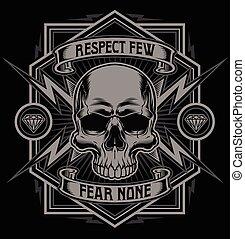 respektál, grafikus, koponya, villámlás