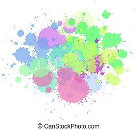 respingo, cores, misturado, fundo, aquarela, branca