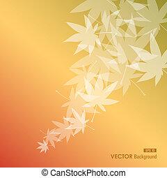 respingo, eps10, arquivo, estação, voando, leaves., outono, experiência., vetorial, transparência, outono, fácil, editando, composição