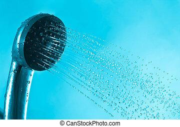 respingo, fresco, chuveiro, azul, banho, corrente, água