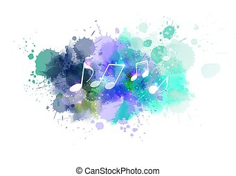 respingo, música, aquarela, fundo, notas
