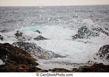 respingo, ondas oceano, pedras