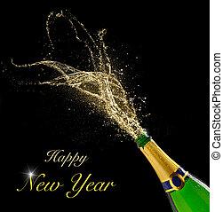respingue, champanhe, pretas, tema, celebração