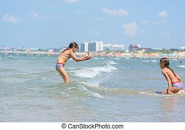 respingue, meninas, ensolarado, quentes, dia, litoral