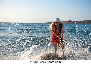 respingue, oceânicos, menina, bonito, onda