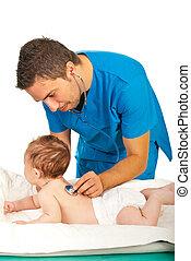 respiração, bebê, examine, doutor