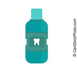 respiração, fresco, vector., garrafa, mouthwash