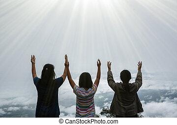 respiração, limpo, adolescentes, profundo, respirar, ar fresco, montanha, feliz, topo