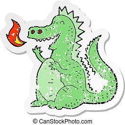 respiración, afligido, pegatina, fuego del dragón, retro, caricatura