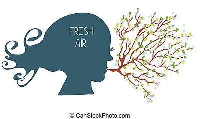 respiración, con, aire fresco, concepto, -, cabeza, silueta