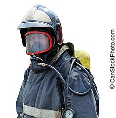 respiración, retrato, bombero, aparato