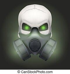 respirador, cráneo, mask., humano
