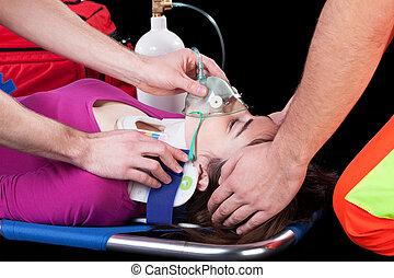 respirador, en, camilla