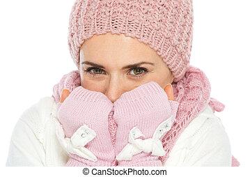 respirar, inverno, mulher, mãos, roupas, tricote, feliz