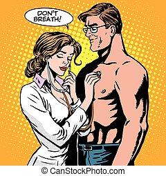 respirar, paciente, médico, estetoscópio, exame, enfermeira