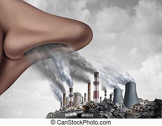respirar, tóxico, poluição