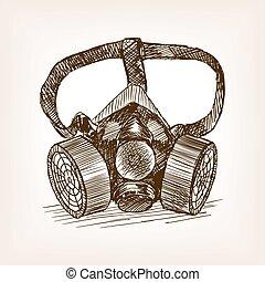 respirateur, croquis, vecteur, style, illustration