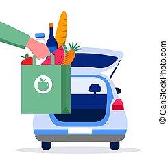 respirateur, illustration, service, livraison, concept, nourriture, tracking., mask., entrepôt, vecteur, homme, ligne, courrier, ordre, camion, scooter