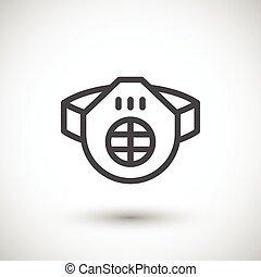 respirateur, ligne, protecteur, icône