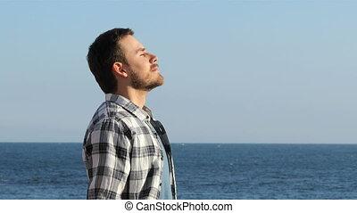 respiration, délassant, air, frais, plage, homme